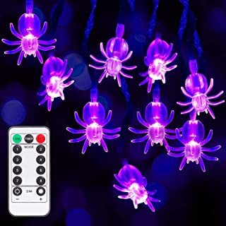 Litake Halloween Purple Spider String Lights with Remote Controller, Battery Operated 30 LEDs Waterproof Lights with 8 Lig...