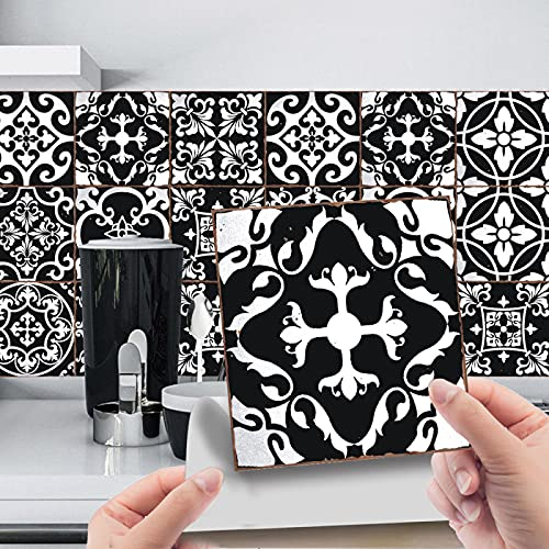 CACAIMAO Pegatinas De Azulejos De Mosaico 3D, Pegatinas De Azulejos De Película Brillante De PVC, Pegatinas De Decoración De Escaleras De Decoración del Hogar 24 Piezas 20cm*20cm