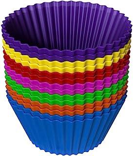 فنجان های پخت کیک سیلیکون (بسته 14 تایی) - ساخته شده در ایالات متحده ، فنجان پخت سیلیکونی قابل استفاده مجدد در 100 رنگ در 7 رنگ - فنجان های سیلیکونی تمیز و ساده نچسب برای پخت خوشمزه - پخت سیلیکون بدون BPA
