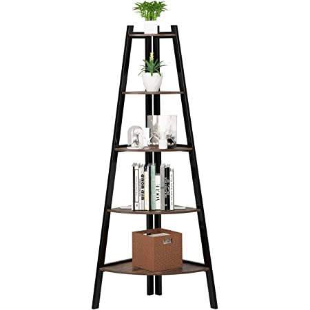 Vasagle Corner Shelf 4 Tier Industrial Storage Rack Ladder Bookcase Organiser Unit For Home Living Room Bedroom Balcony Rustic Brown And Black Lls34x Amazon Co Uk Kitchen Home
