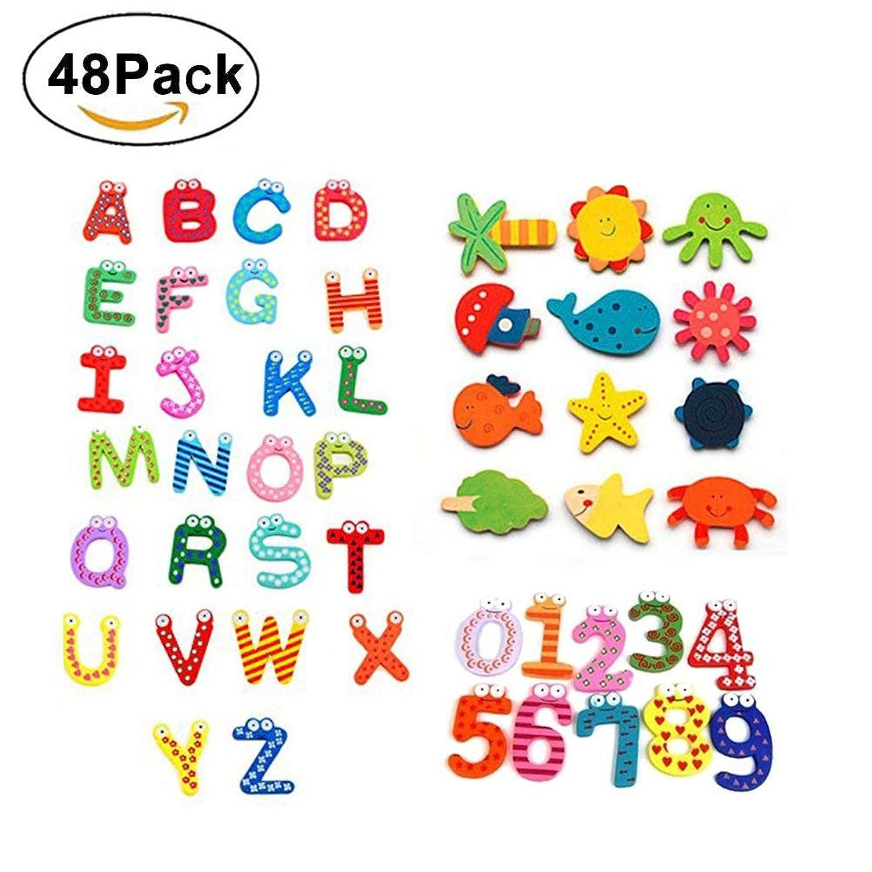 SMUER 木製 アルファベット マグネット セット 冷蔵庫 マグネット 子供 知育玩具 英語 数字 動物 48個