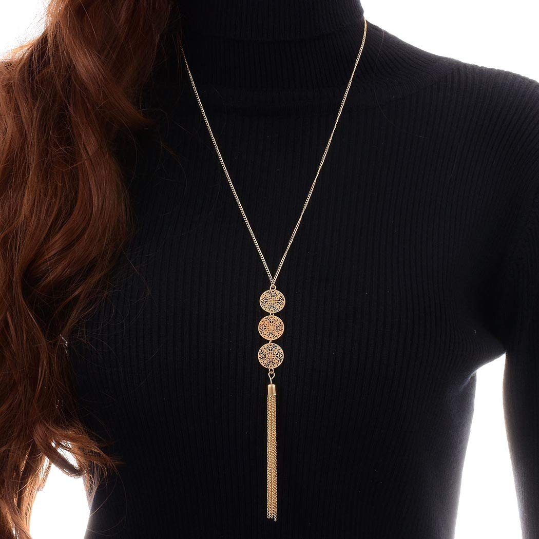 Mosako Boho Tassel Necklaces Gold Long Pendant Necklace Chain Disc Coin Sequins Round Sweater Delicate Dainty Adjustable Necklace Jewelry for Women and Girls