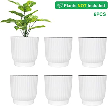 T4U 6 Inch Self Watering Pots for Indoor Plants, 6 Pack White Plastic Flower Pots for All House Plants, Flowers, African Viol