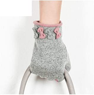 XAZTY Women's Autumn and Winter Wool Warm Gloves, Cute Fashion, Touch Screen Technology, Finger Gloves, Five Colors