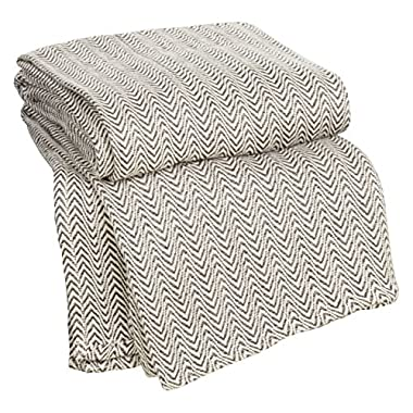 Lavish Home Chevron 100Percent Egyptian Cotton Blanket - Twin - Chocolate
