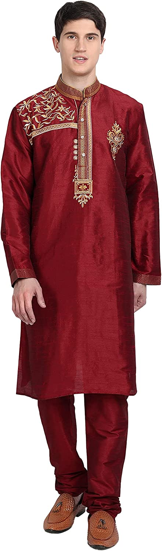 SKAVIJ Men's Kurta Pajama Set Indian Tunic Art Silk Partywear Dress Suit