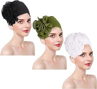 ASHILISIA 3PCS Women Stretchy Beanies Loss Cap African Turban Boho Head Wrap Hijab Turbante Mujer