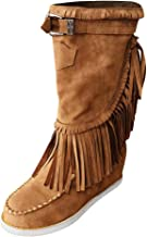 Fringe Mid Calf Boots Women Western Cowboy Booties Rome Retro Mid-Calf Ankle Shoes