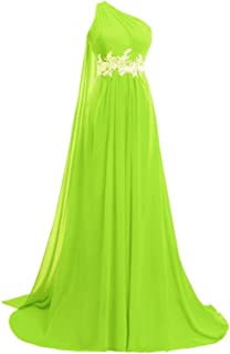 Women's Chiffon Long One Shoulder Prom Dresses 2018 Evening Formal Gowns Red