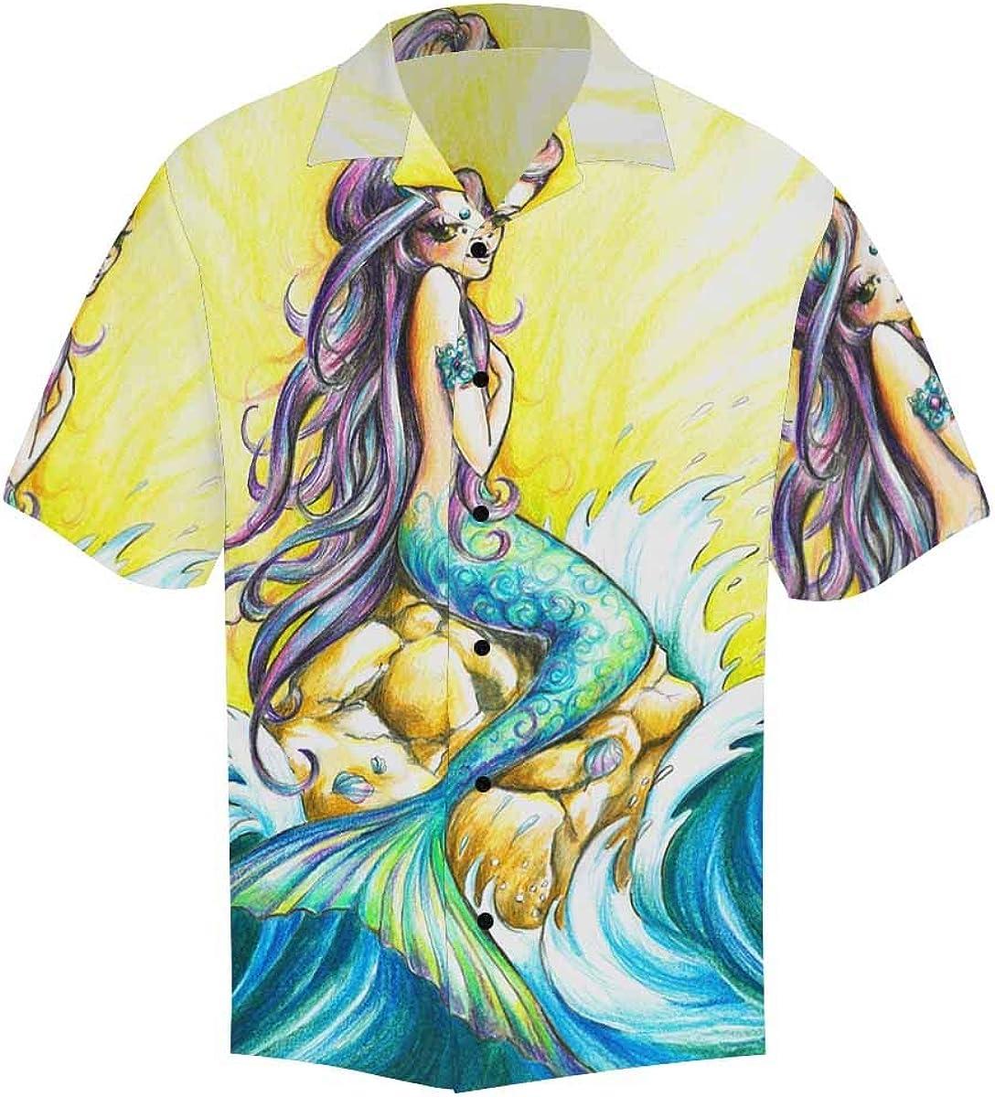 InterestPrint Men's Casual Button Down Short Sleeve Morrocan Ornament Pink Hawaiian Shirt (S-5XL)
