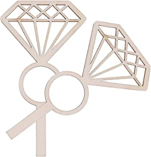 Baosity 24pcs Wooden Diamond Ring Cupcake Toppers Rustic Wedding Engagement Decor