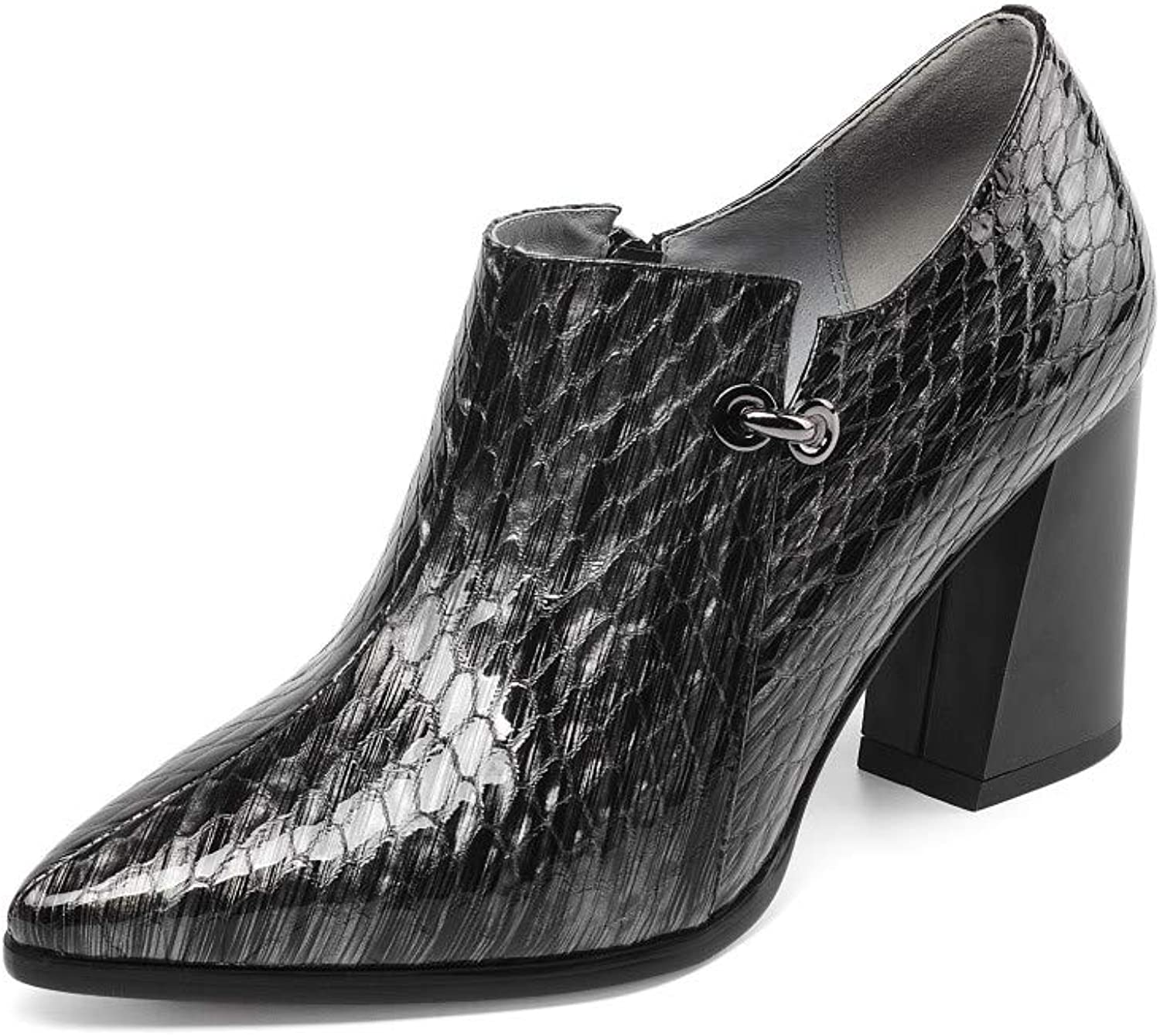 Nine Seven Women's Patent Leather Pointed Toe Mid Chunky Heel Handmade Fashion Side Zipper Walking Dress Ankle Boots