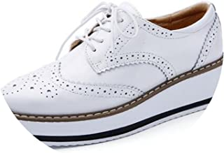 Platform Oxfords Brogue Flats Shoes Patent Leather Lace-up Pointed Toe Footwear Shoes for Creepers