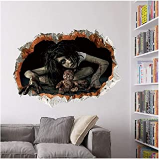 KWENG Halloween Cool Big Wall Sticker Halloween Decoration 3d View Scary Bloody Broken Ghost Sticker Home Party DIY Decora...