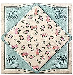 WallyE Mint Floral Printed Decoupage Paper Napkins, English Tea Party Shabby Chic Country Garden Inspired Paper Napkins Decorative for Bridal Shower Tea Party Wedding, 20 Pack
