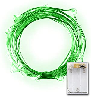 20 Micro LED Green String Lights with Timer Function, Halloween Decoration Lights Battery Operated on Silver Color Ultra Thin Copper Wire