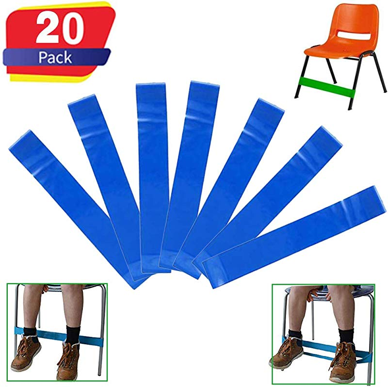 Chair Bands Stretch Foot Band 20 Pack Bouncy Flexible Seating Chair Fidget Bands For Kids Fidgety Feet For School Chairs Desk Classroom Fidget Resistance Improves Concentration Blue
