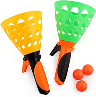 Sacow Launch Catch Ball Game, Ejection Table Tennis Catch Launcher Basket with 3 Balls, Kids Adults' Backyard Beach Game (A)
