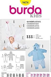Burda Schnittmuster 9478 Baby Kombination: Overall, Jacke, FuSack & Hose Gr. 56-86