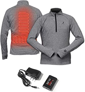 J-Jinpei Heated Shirt 1/4 Zip Pullover for Men and Women,Rechargeable Heated Base Layer Thermal Underwear,Winter Heating Sweatshirt