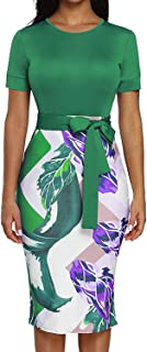 Silindashop Womens Bodycon Pencil Dress Business Wear to Work Patchwork Party Knee Length Dress with Belt