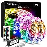 DAYBETTER Led Lights Color Changing Led Strip Lights with Remote Controller 60ft, 2 Rolls of 30ft Led Lights for Bedroom, Home Decoration