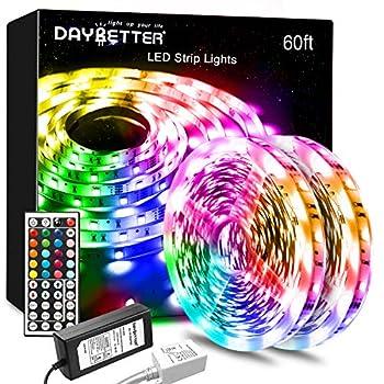 DAYBETTER Led Lights Color Changing Led Strip Lights with Remote Controller 60ft 2 Rolls of 30ft Led Lights for Bedroom Home Decoration