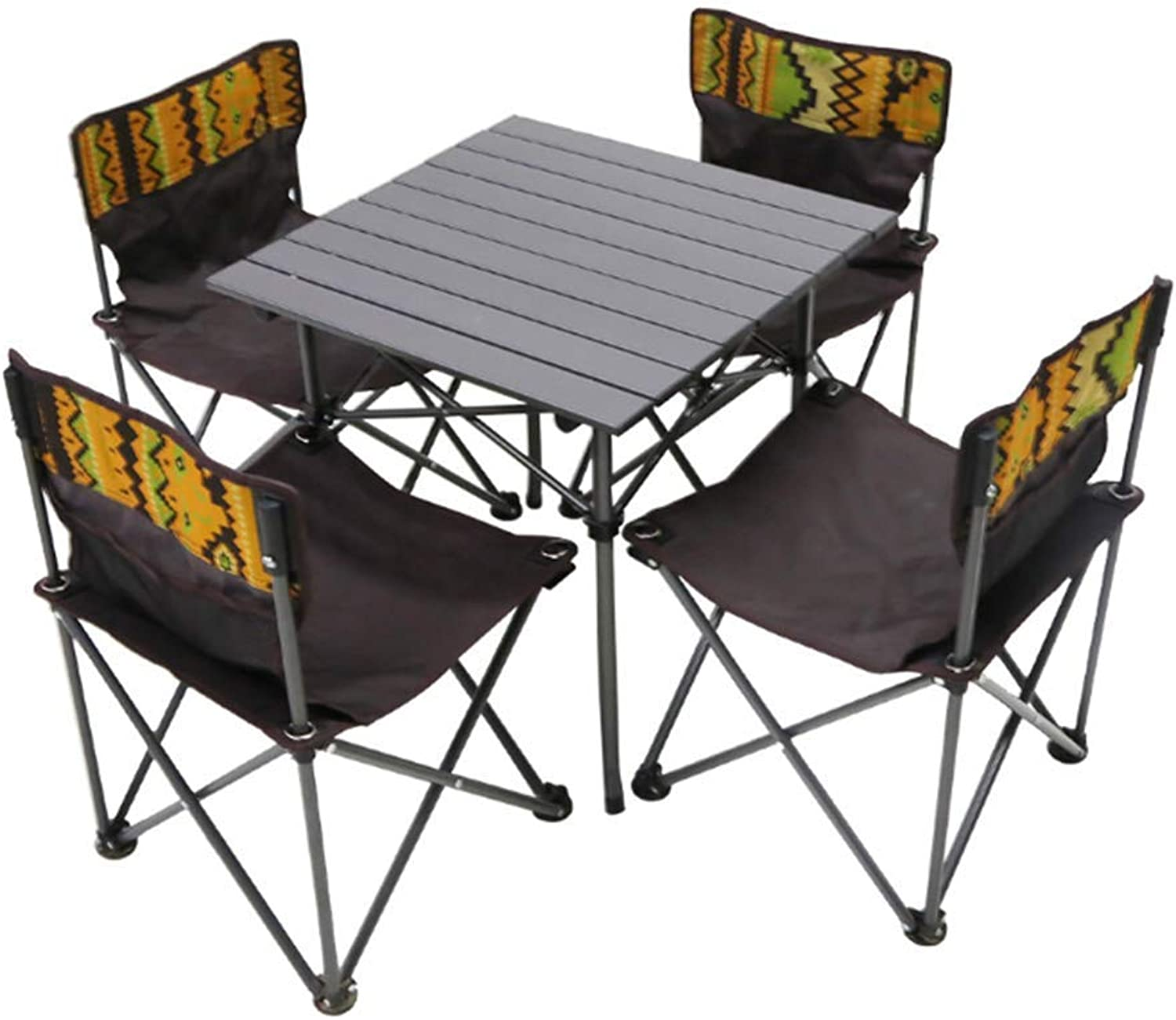 Portable Folding Table and Chair Set Outdoor Camping Beach Dining 5Piece Set Chair Table Desk for Garden Outing Furniture