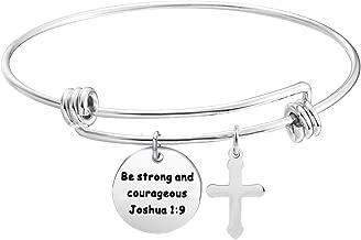 KUIYAI Be Strong and Courageous Bracelet Joshua 1:9 Bible Verse Jewelry Gift