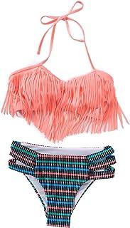 f5fc219c04770 Girls Swimsuit Falbala High Waisted Bikini Set Halter Neck Swimwear Dots  Printing Bathing Suits