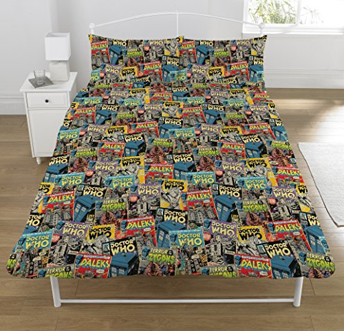 DOCTOR WHO Dr Who Comic' Double Duvet Set, Polyester-Cotton, Multi-Colour