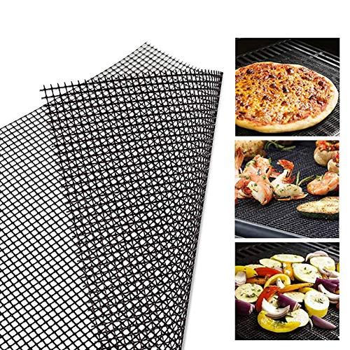 Weimoli - 1 alfombra de rejilla antiadherente para barbacoa, rejilla de rejilla reutilizable, accesorios para uso en la parrilla, la cocina, 30 x 40 cm