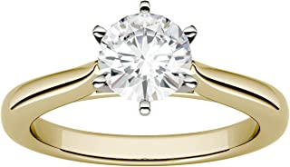 14K Gold 6.5mm Moissanite by Charles & Colvard 6-Prong Solitaire Engagement Ring, 1ct DEW