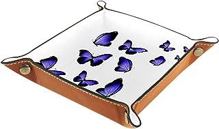 ATOMO Plateau de rangement en cuir violet avec imprimé papillons pour clés, bijoux, articles divers, table de chevet