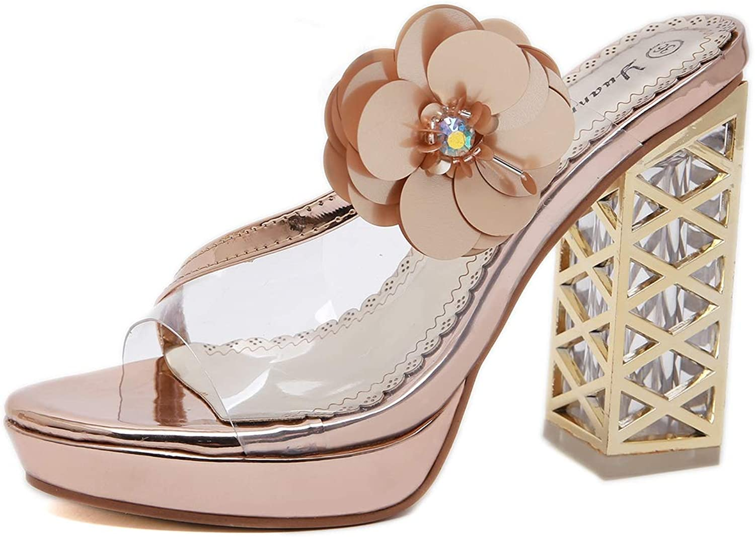 Women's Sandals - Crystal Thick with Waterproof Table High Heel Transparent Flowers Wear Slippers