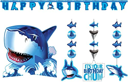 discount Shark Splash Party wholesale Decorations Supply Pack high quality - Hanging Cutouts, Banner, and Centerpiece outlet online sale