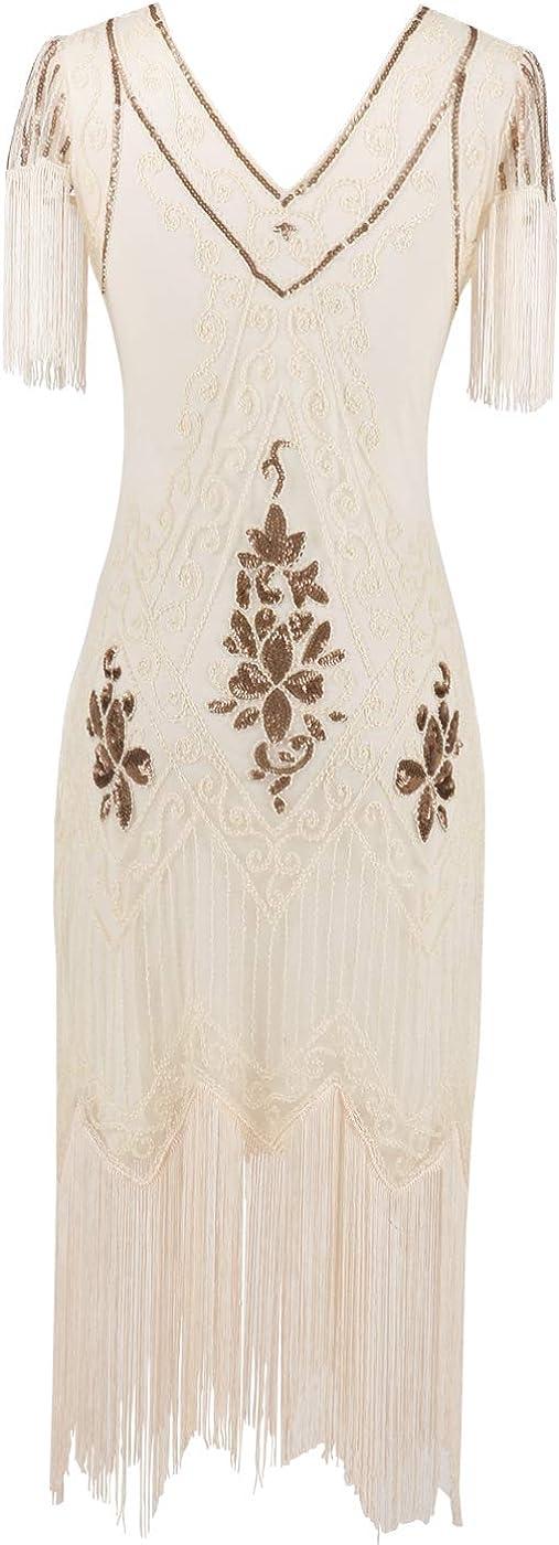 MISSCHEN Women's 1920s Art Deco Fringed Sequin Dress Gatsby Costume Dress with Sleeve YLS018