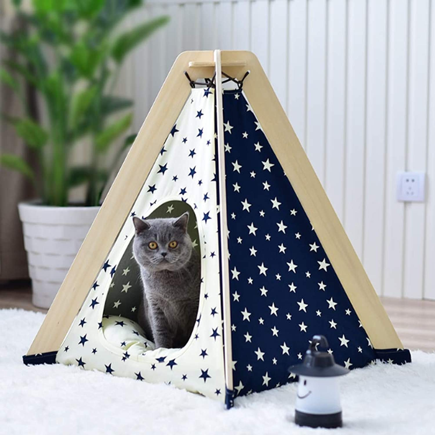 Curved Star Pet Tent Dog Bed Portable Puppy Cat Teepee with Cushion Four Seasons Resting Place Toy House Shelter,CurvedStar,Nopad