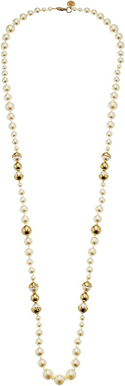 Capped Crystal Pearl Long Necklace