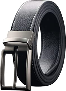 "Men's Reversible Leather Dress Belt 1.3"" Wide Rotated Buckle"