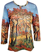 Breeke & Company Autumn Forest Hand Silk-Screened Printed Woman's Top