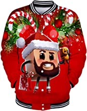 Christmas Costume GREFER Stylish Mens Fun Ugly 3D Print Party Tops Plus Size Button Baseball Coat Sweatshirts Outwear