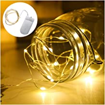 LED lichtslingers met batterij, 18 stuks 2 meter 20 micro koperen lichtslingers IP65 waterdicht warm wit decoratieve licht...