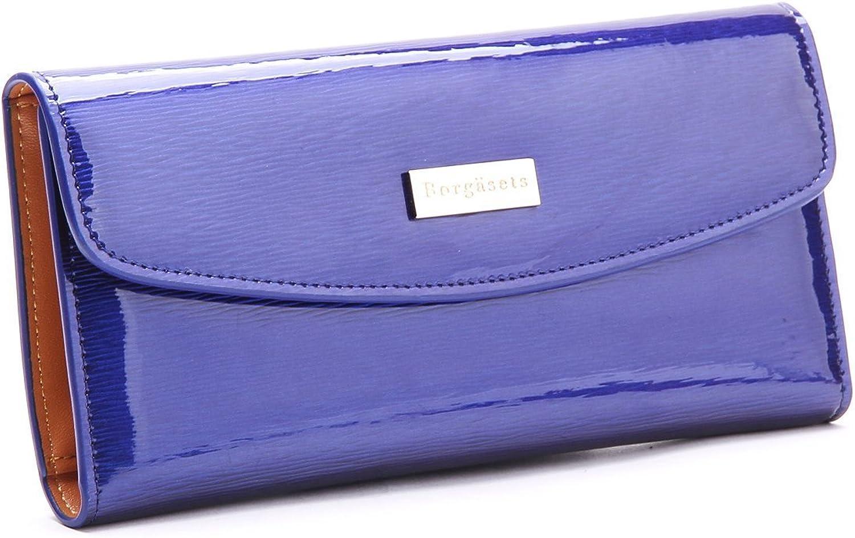 Borgasets Women's Genuine Leather Wallet bluee
