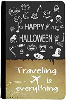 Happy Ghost Fear Halloween Traveling quato Passport Holder Travel Wallet Cover Case Card Purse