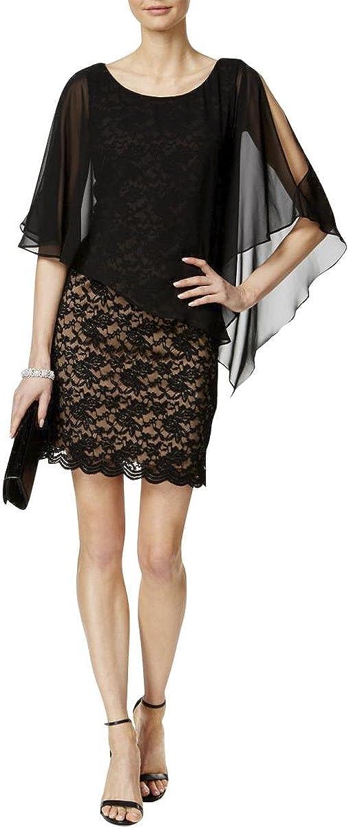 Connected Women's Lace Cold-Shoulder Cape Dress