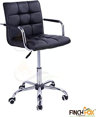 Finch Fox Height-Adjustable Mid-Back Faux-Leather Arm Office Desk Chair for Computer/Salon/Spa/Bar/Medical/Kitchen /(Black)