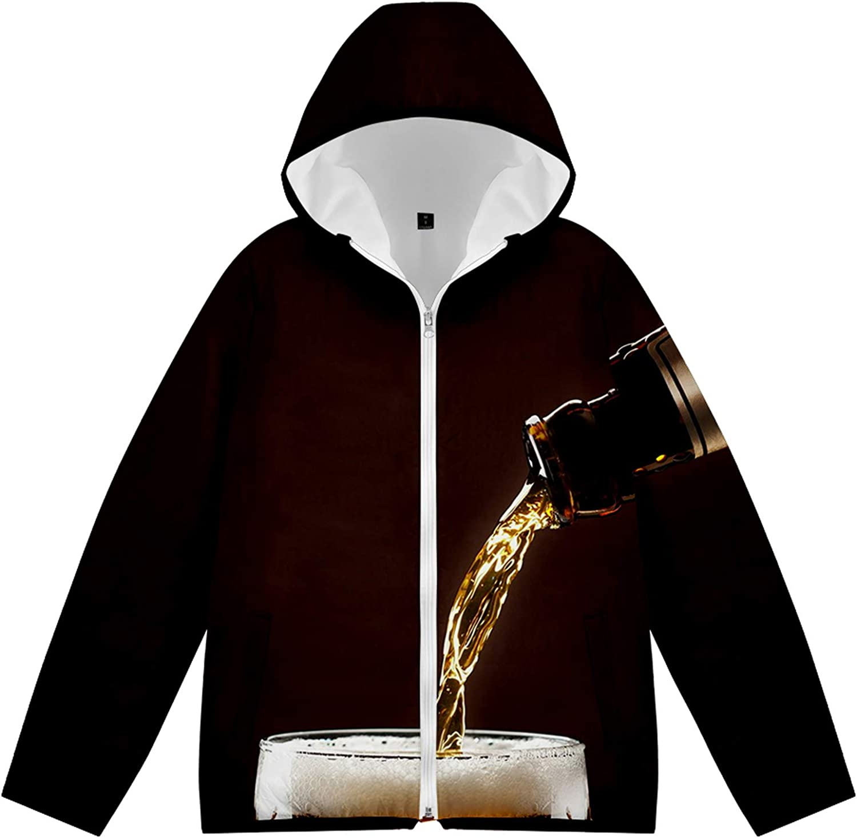 URVIP Unisex 3D Printed Beer Festival Puffer Coat Hooded Down Jacket