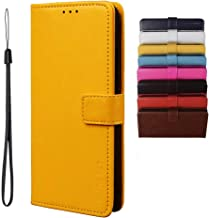 BRAND SET Case for Infinix Note 7 Lite/Infinix Hot 9 Case Wallet Style Faux Leather flip Case with Secure Magnetic Closure Lock and Bracket Function Suitable for Infinix Hot 9/Note 7 Lite(Yellow)