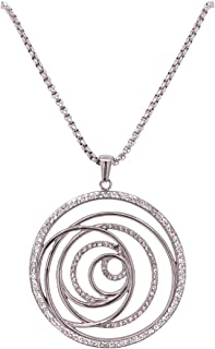 Bevilles Stainless Steel Crystal Open Swirl Necklace